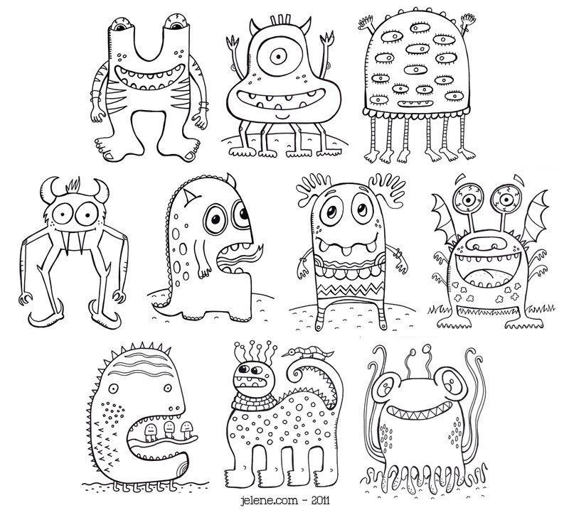 PDF Printable Crazy Monsters Coloring Book. via Etsy