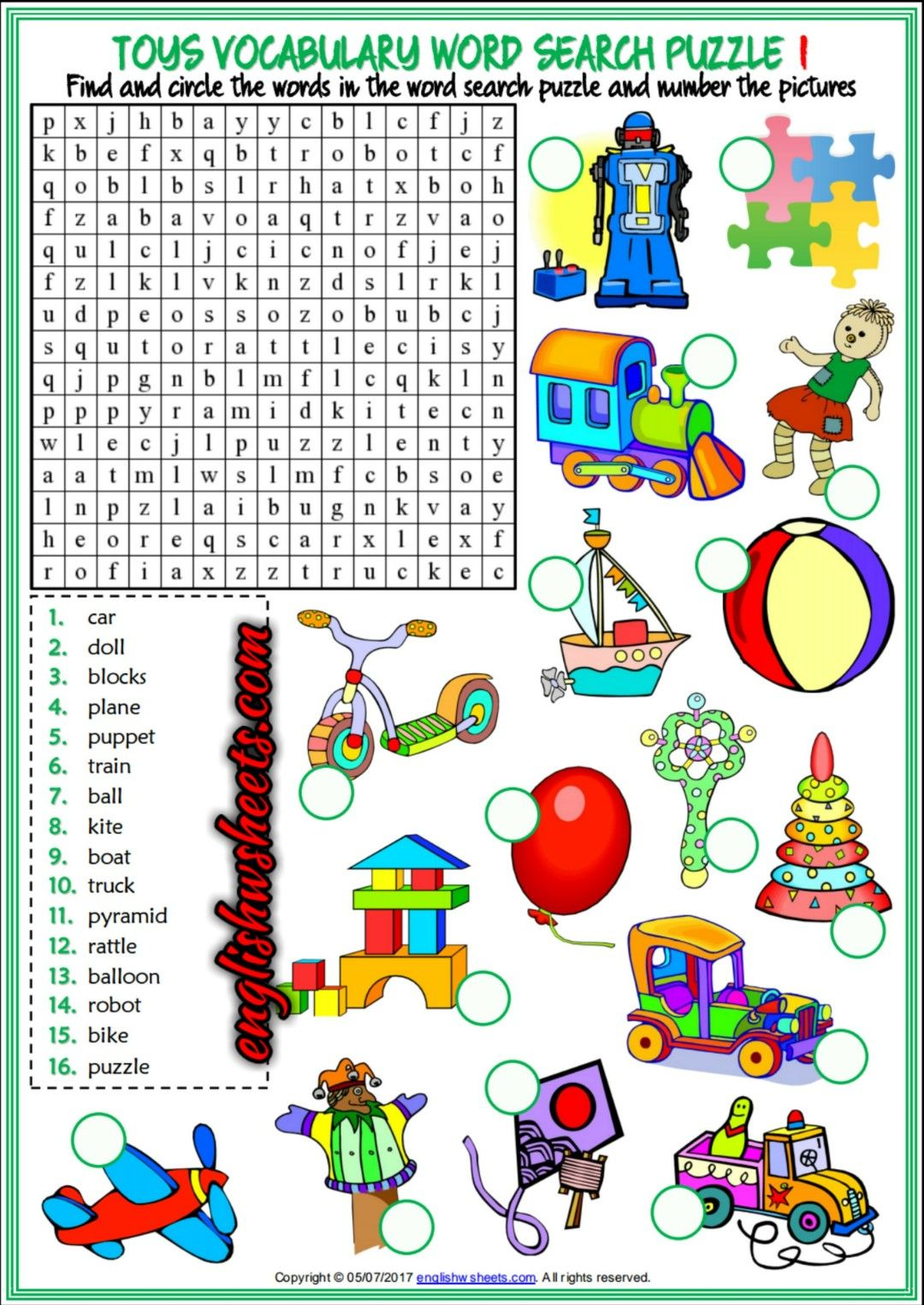 Toys Esl Printable Word Search Puzzle Worksheets For Kids