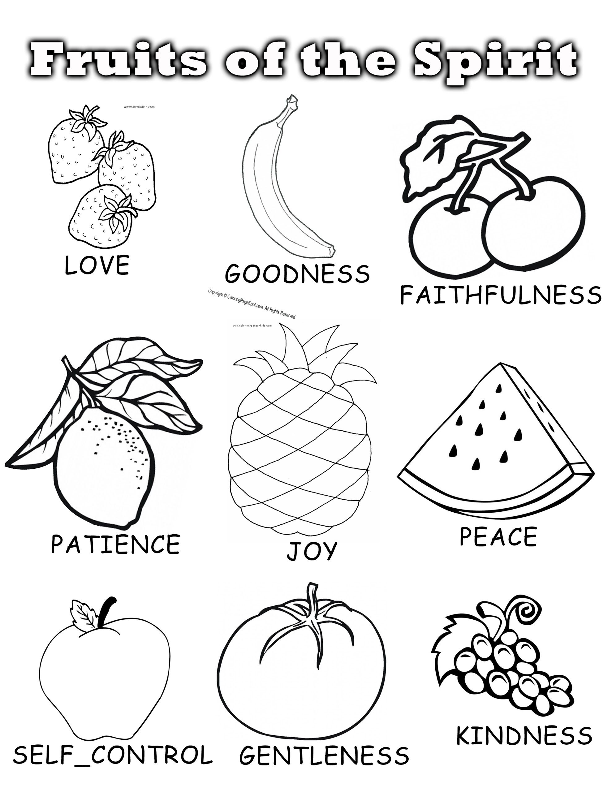 Fruits Colouring Page