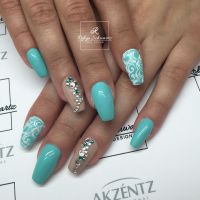 Pretty teal and nude gel nails, coffin nails, Swarovski ...