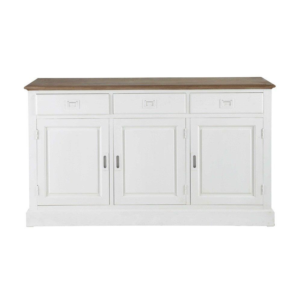 buffet 3 portes 3 tiroirs en paulownia blanc