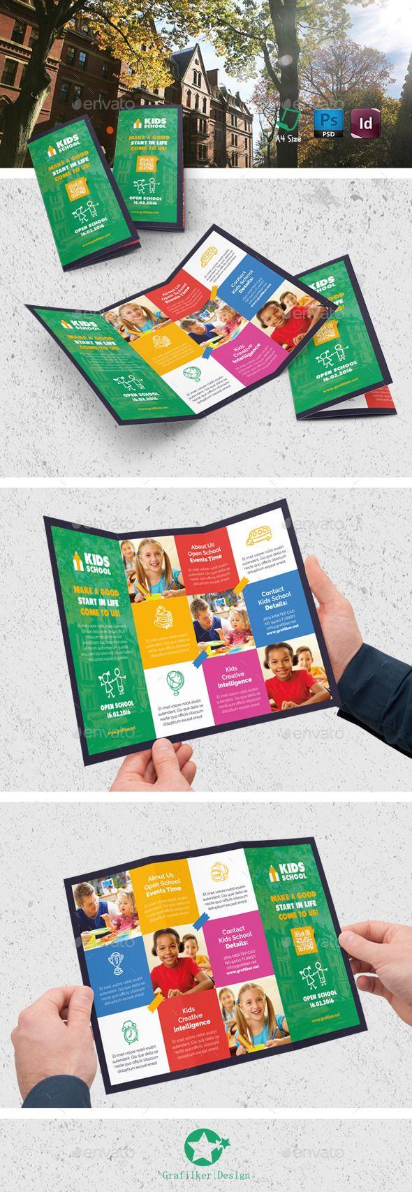 Kids School Tri-Fold Templates - Brochures Print Template Indesign Indd,  Psd.