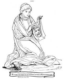 Veronica Wipes the Face of Jesus. Catholic Coloring Page
