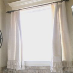 Kitchen And Bathroom Window Curtains Natural Cherry Cabinets Diy Ruffle Drop Cloth Decorative Mouldings
