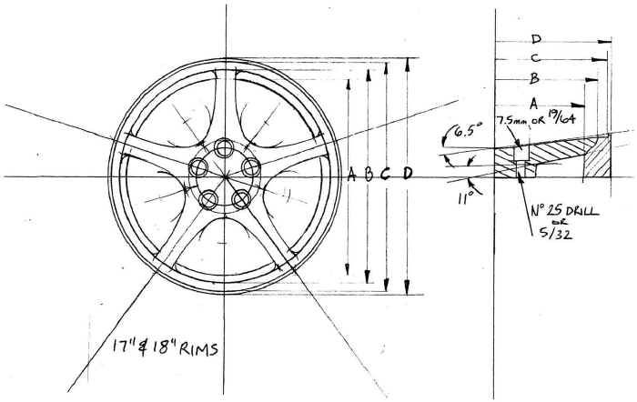 Engineering drawing of the Chevy Corvette wheel showing a