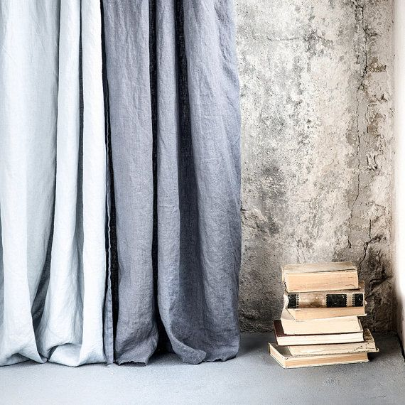 Dark Grey Graphite Washed Linen Curtains Linen Drapes In Dark