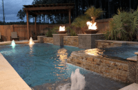 pool, spa, fire bowls, sun deck, bubblers with led