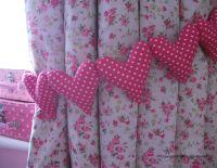 Shabby Chic Hot Pink Polka Dot Curtain Heart tie-backs ...