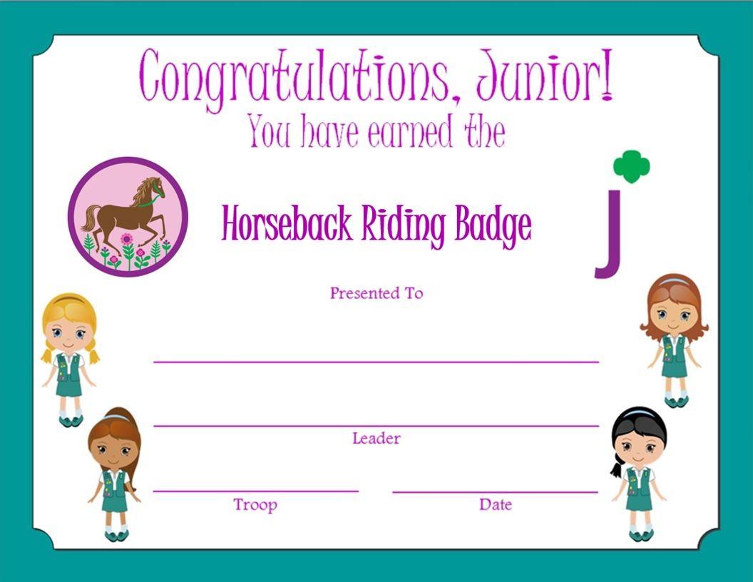Junior Horseback Riding Badge Certificate