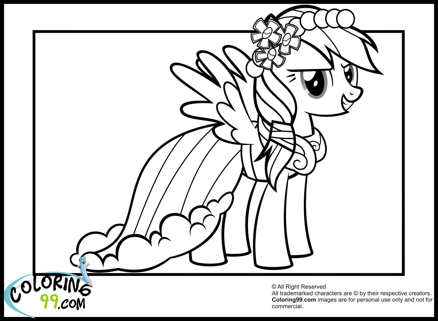 Rainbow Dash Colouring Pictures