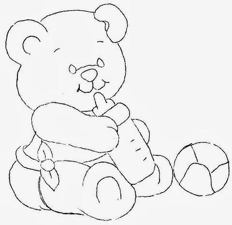 desenho de ursinho com mamadeira e bola para pintar
