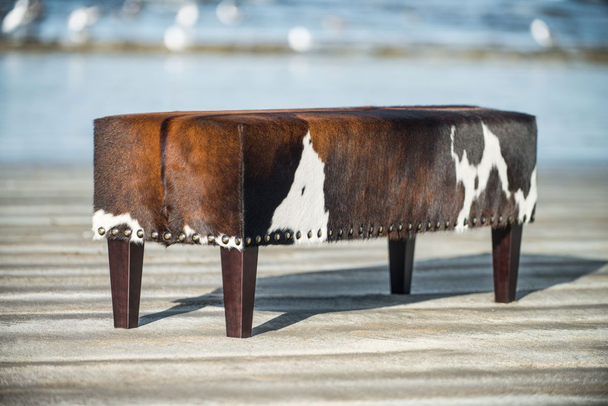 cowhide chairs nz cute desk target gorgeous brown and white bench ottoman by