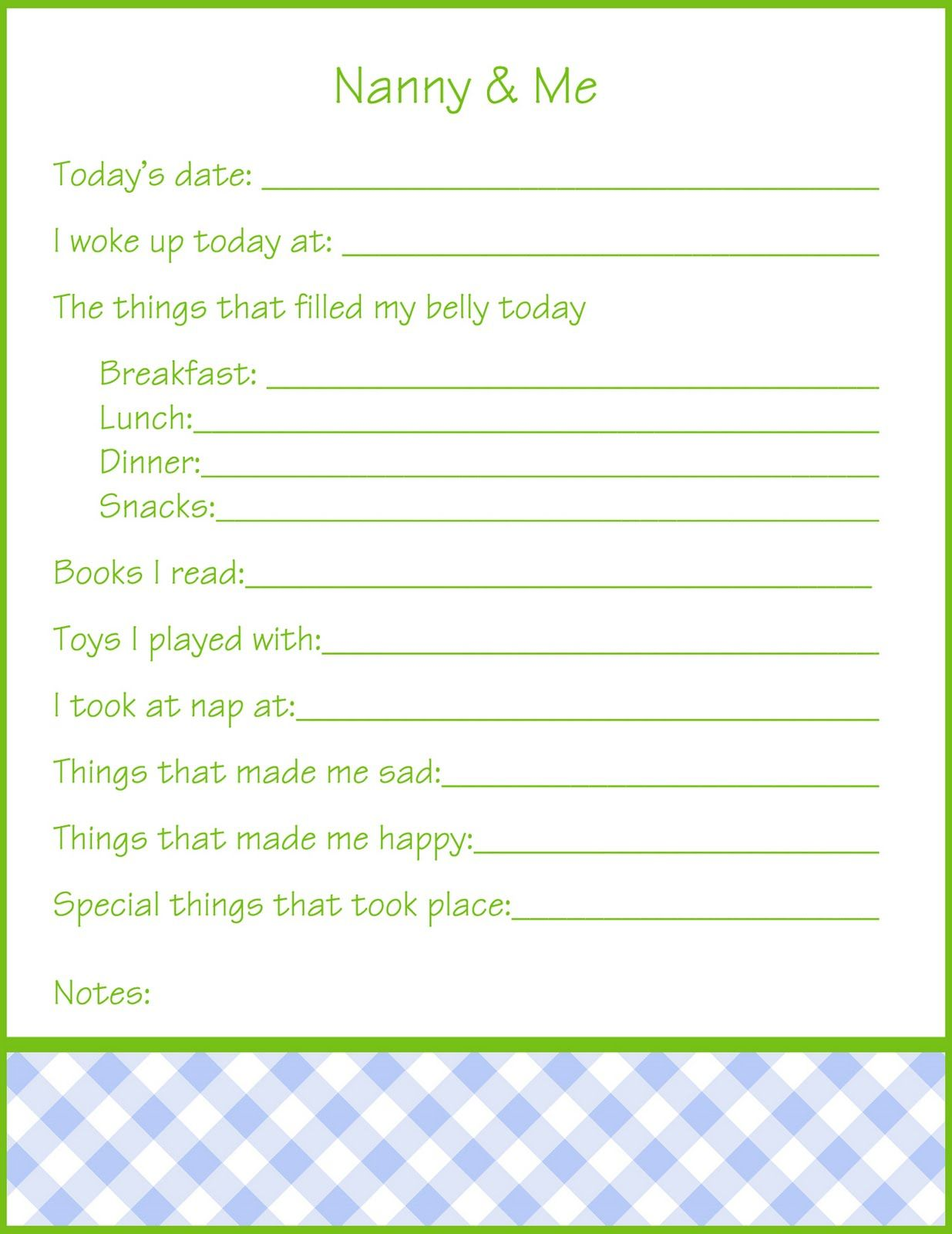 Day To Day Nanny Log Sheet Printable