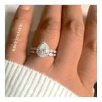 True Love 925 Silver Halo Teardrop Wedding Engagement Ring ...