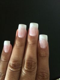 White ombre tip gel nails with glitter. | Nails ...