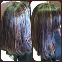 Black hair color with golden brown highlights