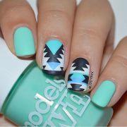 blue nail art design green