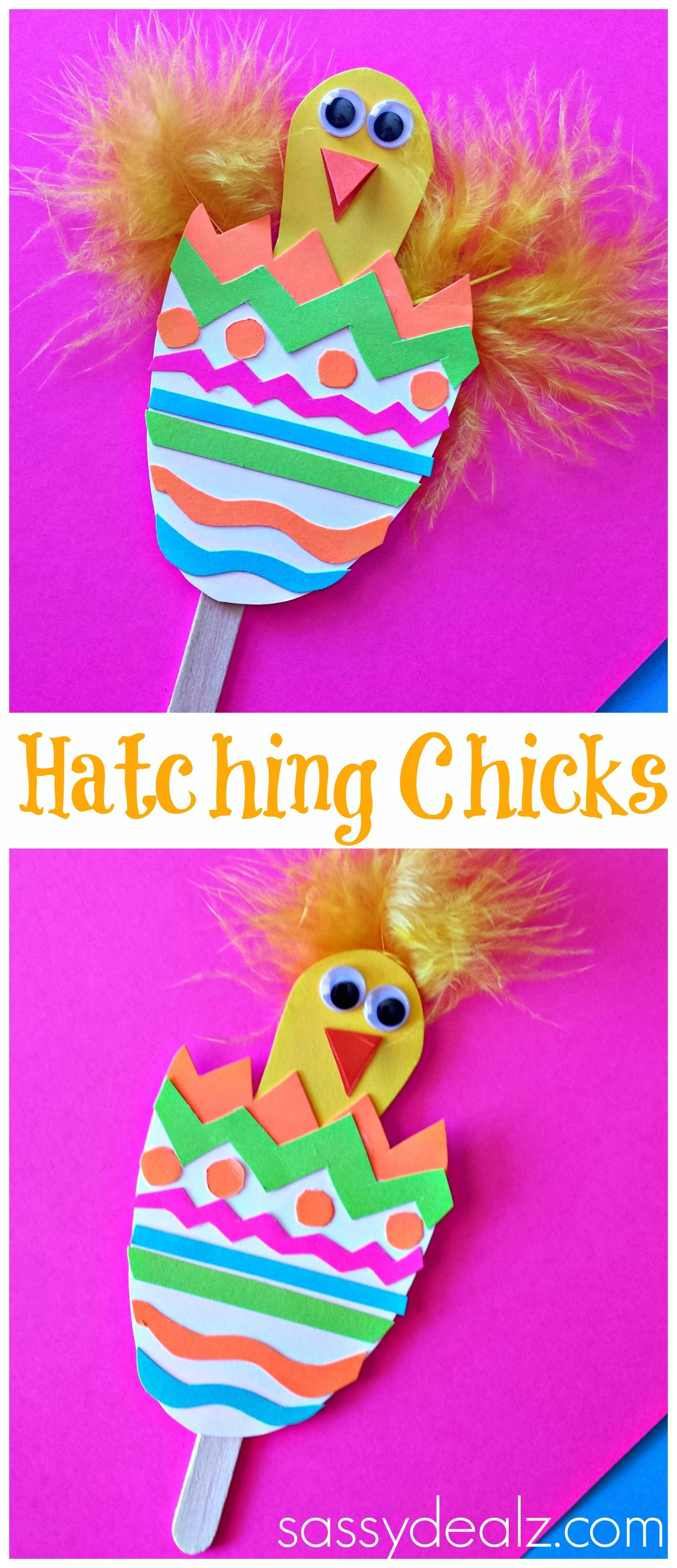 Hatching Chick Craft Using Popsicle Sticks Easter Egg