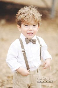 Brown Heather polyester little boy bow tie and suspenders ...