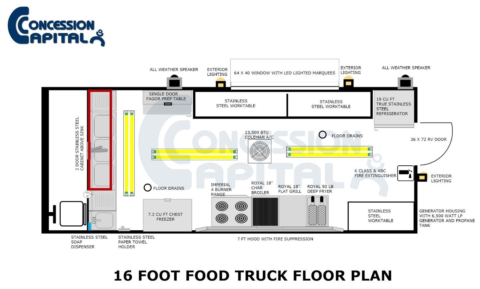 18 Foot Food Truck Floor Plan  step vans  Pinterest