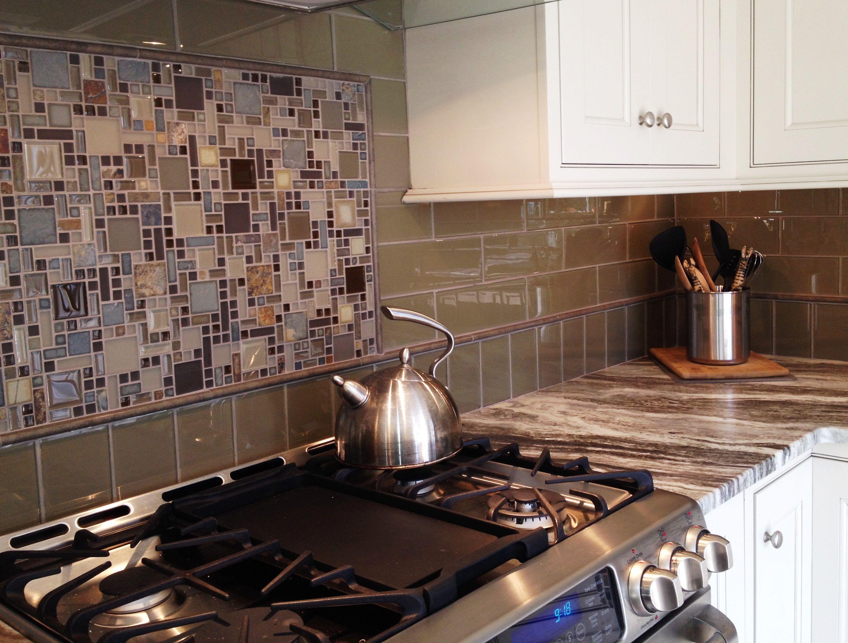 glass tile kitchen countertop bistro table backsplash with framed mosaic insert over