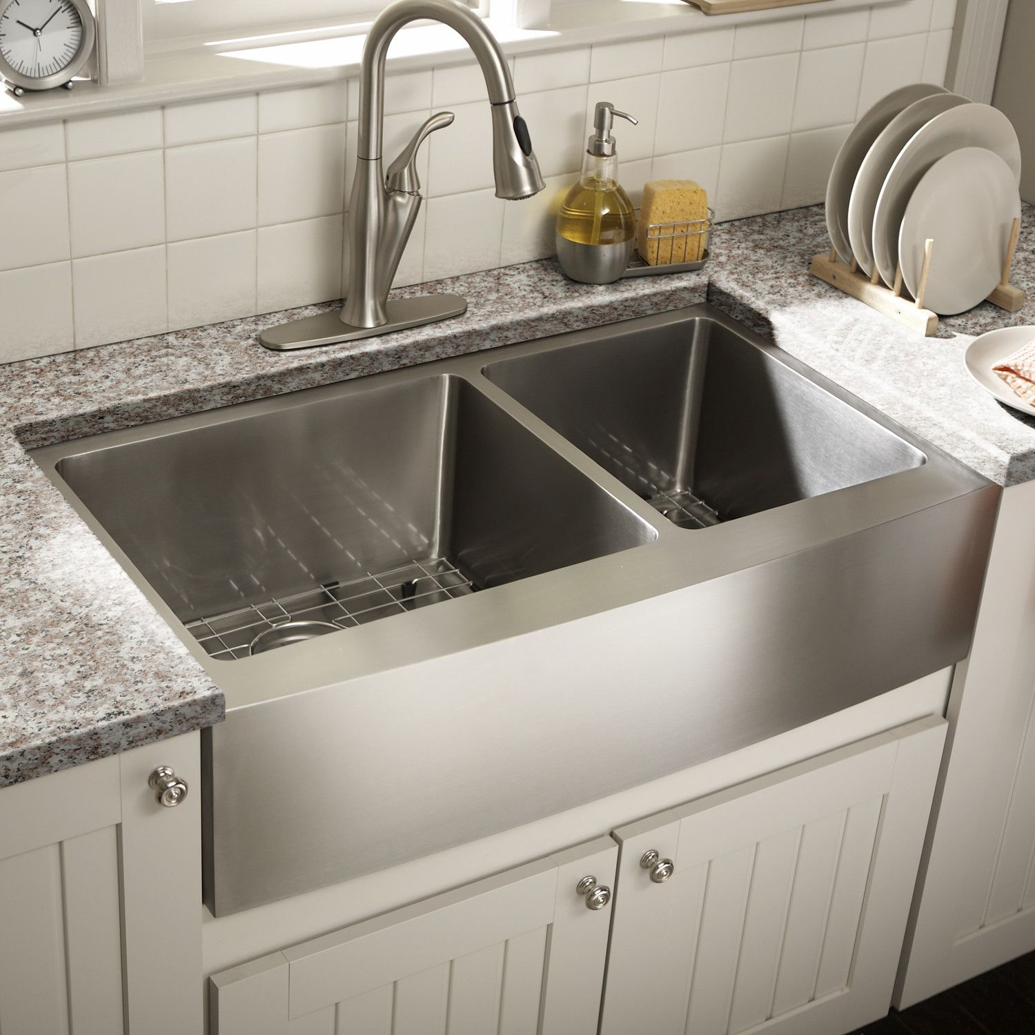 Want double stainless farmhouse sink Schon Farmhouse 36 x