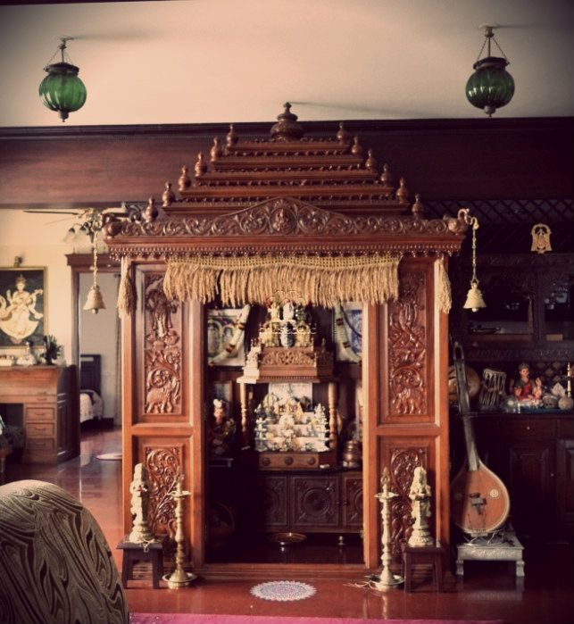 A traditional South Indian home with a beautifully craved temple  Uniquely Indian  Home Decor