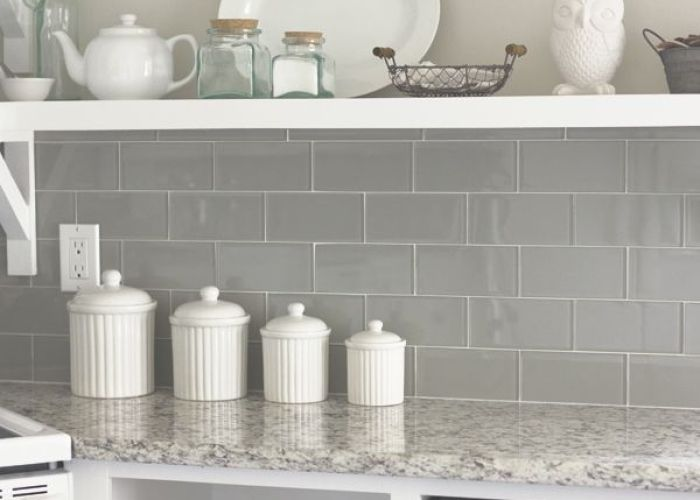 Wall color valspar   tranquil floor tile lowe giotto grey granite counters sink  faucet kashmir white backsplash emser also subway special order from lucente in morning