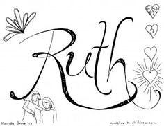 """""""Ruth"""" Bible Coloring Page"""
