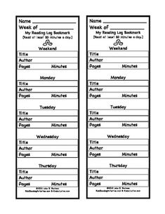 Reading Log & Comprehension Questions Bookmarks & Journal Page