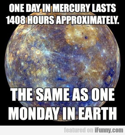 One Day In Mercury Lasts 1408 Hours…