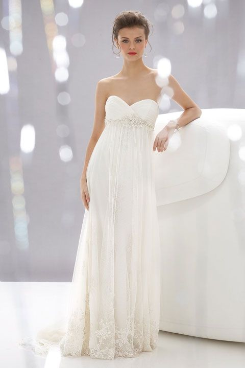 Sheath / column floor-length net bridal gown with appliques embellishment