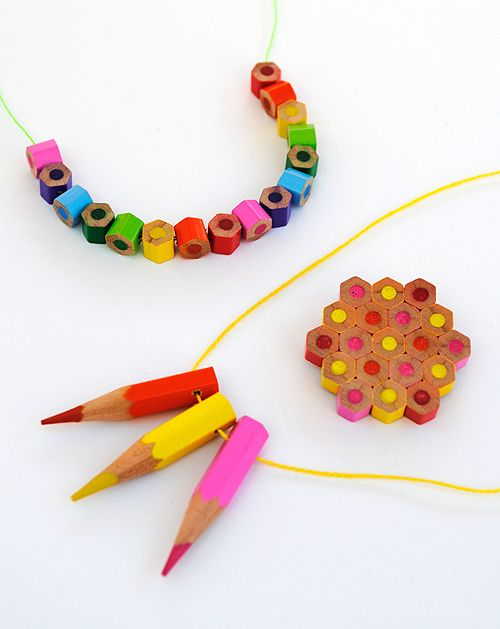 Colored pencil jewelry! This would be awesome for teachers to wear – or, to make