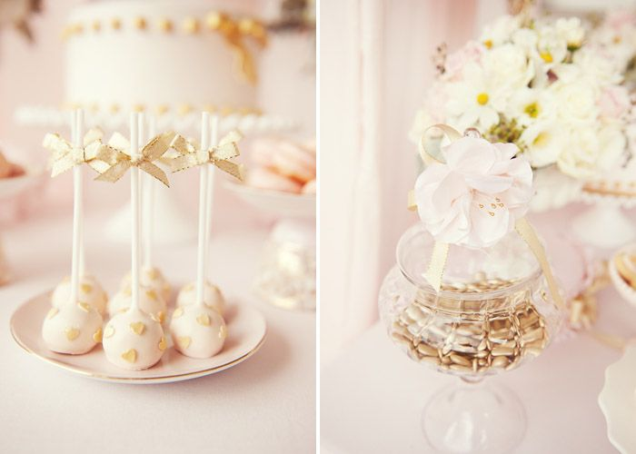 Blush pink and gold #bridal #shower featuring hearts, bows and ruffles.. how cut