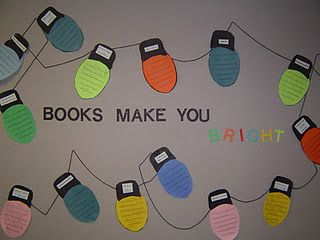 Books make you BRIGHT bulletin board/hall display for the holidays.  Would be cu