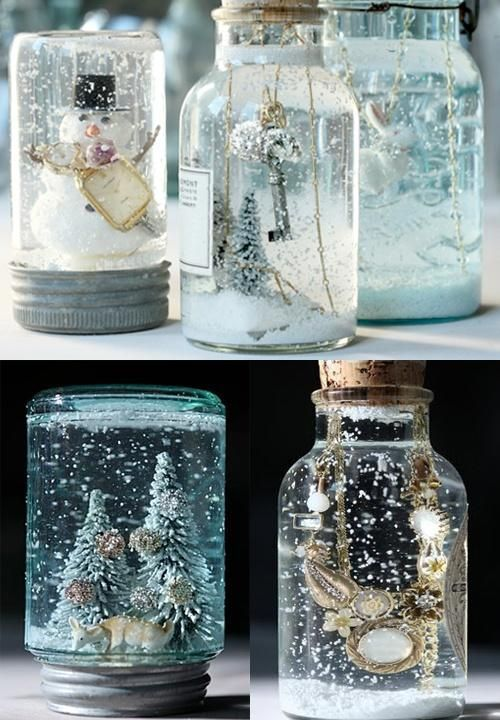 Glue the decoration to the inside of the lid. Fill the jar with boiled water and