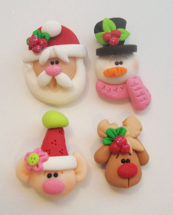 Mini Mix Set Santas, Elf, Rudolph, Snowman Polymer Clay Charm Bead Scrapbooking