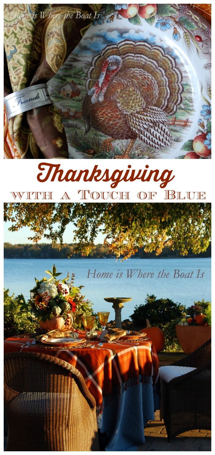 Thanksgiving With a Touch of Blue Tablescape