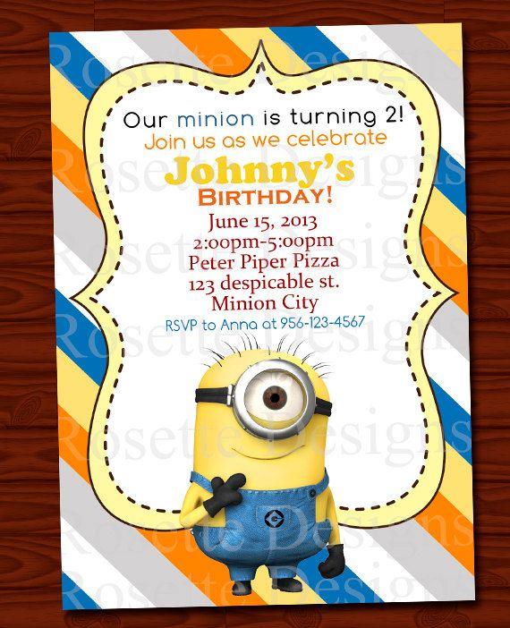 DIGITAL printable minion invitation – personalized invite – blue yellow orange –