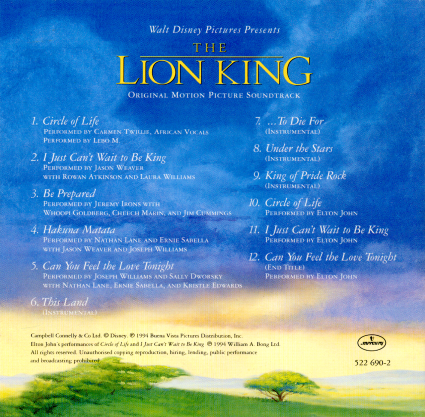 the lion king movie 1994 soundtrack