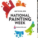 National Painting Week 2016 logo and photos of working painting contractors donating their time.