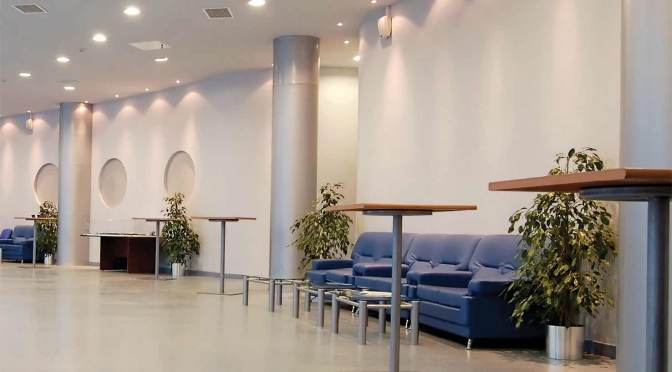 Photo of a high-aesthetic lobby requiring a smooth finish and outstanding stain resistance