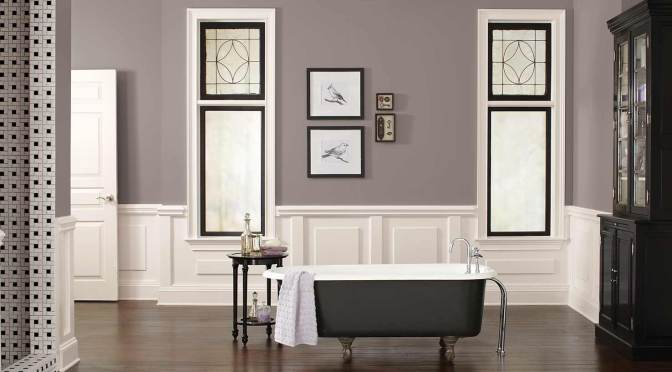 2017 color of the year Poised Taupe shown on the walls of an elegant bathroom