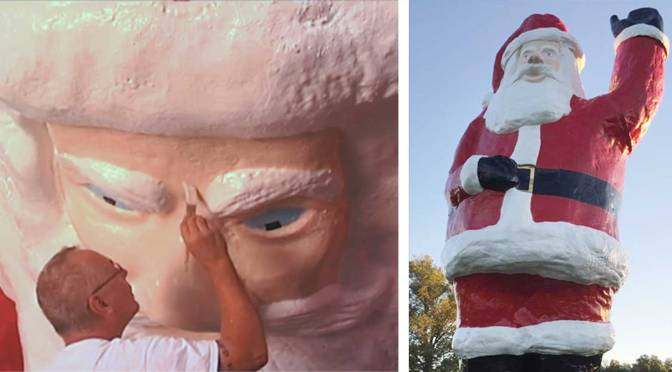 Photos of Ron McKeethen restoring the 32-foot Santa of Evansville, Indiana