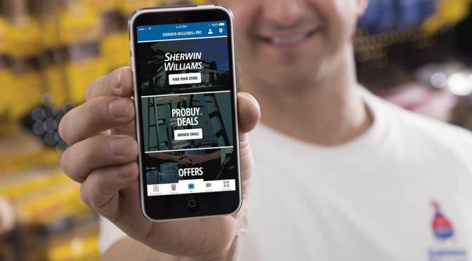 contractor showing off the newly redesigned sherwin williams pro app