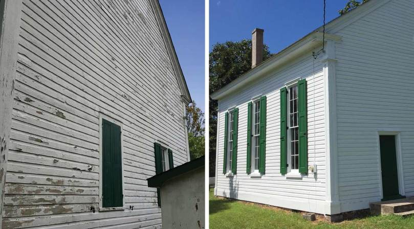 before and after photos of a 200-year-old church exterior in dire need of restoration
