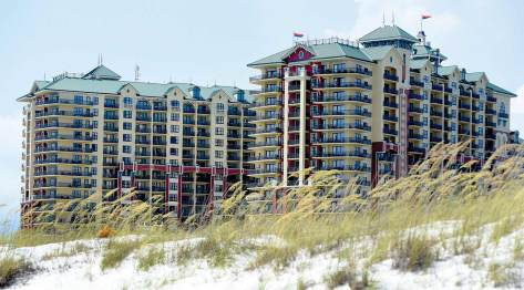 the newly repainted Emerald Grande resort on the Gulf of Mexico