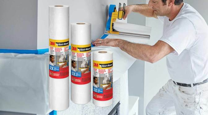 rolls of 3M Hand-Masker Plastic and a contractor masking a mantlepiece
