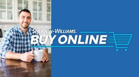 Sherwin-Williams Buy Online logo with photo of Justin Gripka of Gripka Paint Company