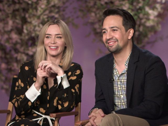 PHOTO: Emily Blunt and Lin Manuel Miranda discuss playing Mary Poppins and Jack in Mary Poppins Returns.